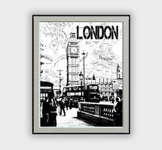 "Wall Decor Typographic Painting famous cities with world map background black and white ""London"" Around Big Ben Digital Art Home Decor"