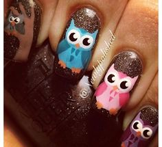 Brown Glitter Owl Nail Art