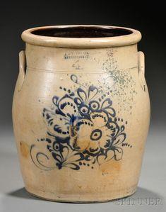 "Stoneware Crock with Cobalt Flower Spray Decoration, ""J. & E. Norton, Bennington, Vermont,"" 1850-61, four-gallon crock ovoid crock with lug handles, impressed maker's mark, (chip, glaze flaking)"