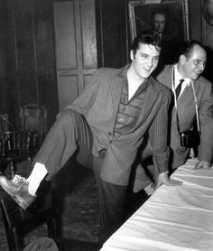 Elvis debuts his Gold shoes in the Saddle and Sirloin Club - Mar. 28, 1957 - Chicago Photo courtesy David English