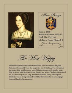 Anne Boleyn wife to King Henry VIII of England,and mother of Queen Elizabeth I,the next ruler of England. Henry VIII had 6 wives.
