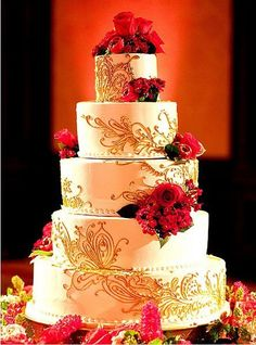 5 tier white and  gold wedding cake with red flower decoration. #cake #wedding #redandgold