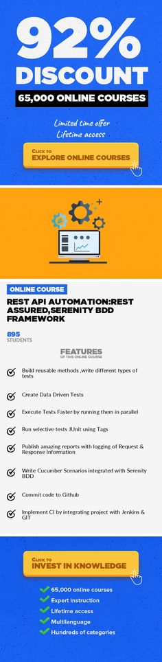 REST API Automation:REST Assured,Serenity BDD Framework Software Testing, Development  Build a robust REST API test automation framework/CI environment using Serenity BDD, Jenkins, Git In the 21st century, almost all web applications use web services to communicate or interact with each other. Most modern day web services are built on Representational state transfer (REST) architecture; REST ha...