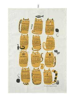2011 cat calendar tea towel by kauniste >>  Much like the recipe tea towel, another tradition is the calendar tea towel. Anchors design in specific time (pro/con) but also hella adorbz.