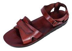 db950b92b9fe81 Classic Wide Strap Handmade Leather Biblical Sandals With Velcro Closure -  Yehuda