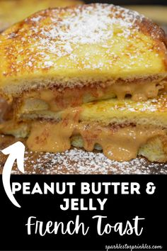 Peanut butter and jelly french toast is an easy breakfast meal that the kids will love as you combine their love for PB & J and french toast into one delicious breakfast creation. Peanut Butter Sandwich, Peanut Butter Cookies, Chocolate Peanut Butter, Banana Slice, Piece Of Bread, Party Food And Drinks, Butter Pie, Yummy Food, Delicious Dishes