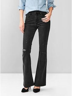 Gap 1969 resolution destructed black skinny flare jeans