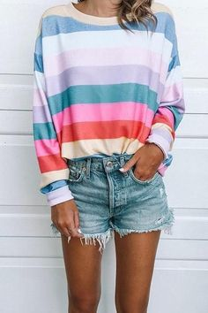 Fashion Rainbow Striped Long Sleeve Blouse - Shirt Casuals - Ideas of Shirt Casual - Fashion Mode, Moda Fashion, Denim Fashion, Womens Fashion, Cheap Fashion, Trendy Fashion, Fashion Art, Fashion Outfits, Fashion Trends