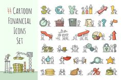 Cartoon financial icons with people @creativework247