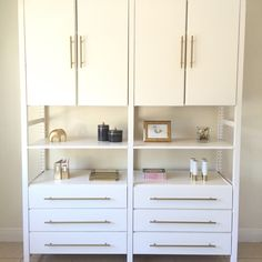 Brass hardware adds a touch of class to this Ikea Ivar unit.