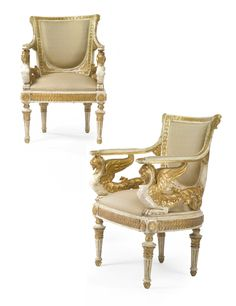 A pair of Italian Empire parcel-gilt and white-painted armchairs circa 1820