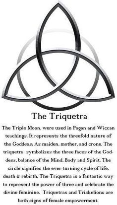 The Triquetra: The Triple Moon is used in Pagan and Wiccan teachings. It represents the threefold nature of the Goddess: As maiden, mother and crone. The Triquetra symbolizes the three faces of the Goddess, balance of the Mind, Body and Spirit. The circle Wiccan Spells, Wiccan Symbols, Celtic Symbols And Meanings, Celtic Tattoo Symbols, Celtic Knot Tattoo, Celtic Tattoos, Celtic Protection Symbols, Celtic Tattoo Meaning, Welsh Symbols