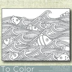 Printable Waves and Fish Coloring Page for Adults, PDF / JPG, Instant Download, Coloring Book, Coloring Sheet, Grown Ups, Digital Stamp by ToColor on Etsy
