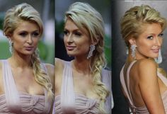Side-Swept Braid - Paris Hilton looked ultra feminine at the 2010 World Music Awards with a messy, side-braided hairstyle. Her piecey swing bangs and textured volume on top created an efforlessly polished look. Bridal Hair Side Swept, Wedding Hair Side, Wedding Hairstyles For Long Hair, Pretty Hairstyles, Headband Hairstyles, Girl Hairstyles, Bridal Hairstyle, 40 Year Old Hair Styles, Side Swept Hairstyles