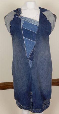 Upside Down Denim Dress Redo Clothes, Clothing Redo, Diy Dress, Couture Collection, Denim Fashion, Sheath Dress, Vest, Silk, Patch