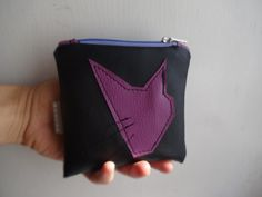 Cat Coin Purse Handmade Pouch Bag Black Violet Coin by koatye1