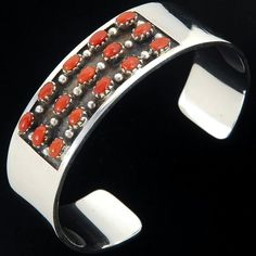 Genuine Coral Sterling Silver Native American Cuff Bracelet Old Pawn Navajo Jewelry | Alltribes