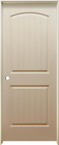 Mastercraft® X Primed Arched Raised Plank Hollow Core Prehung Interior Door    Right Inswing