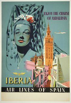 Vintage Andalucia SpainTourism Poster  A3//A2//A1 Print