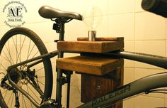 Salvage wood bike rack with light and toggle by VintageAmpFunk