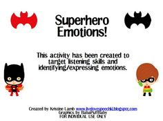 Live Love Speech: Superhero Emotions Activity and a VDAY {FREEBIE} – Shannon Hargreaves – art therapy activities Emotions Activities, Social Skills Activities, Counseling Activities, Art Therapy Activities, Kids Therapy, Enrichment Activities, School Counseling, Therapy Ideas, Speech Therapy