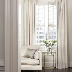 elegant living room using shutters and curtains http://www.springcrest.net.au/blinds.html