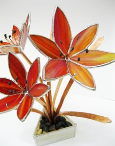 Orange Day Lilies in Stained Glass10 by GlassKissinCreations. $150.00, via Etsy.