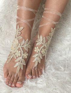 Champagne Beach wedding barefoot sandals by LaceBarefootSandals