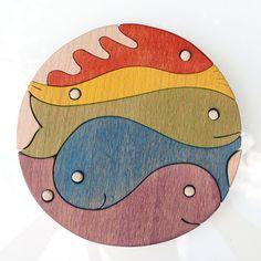 Pesce di legno puzzle Puzzle di Cluster Montessori di pirondesign