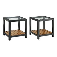 Glass Metal Antique Brown Wood Coffee Table (Set of 2) | Overstock.com