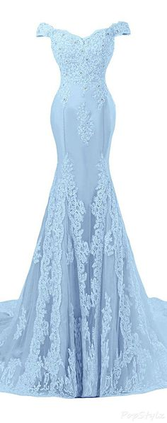 I wonder if this comes in black for bridesmaid dresses..  Sunvary Off Shoulder Formal Lace Evening Gown