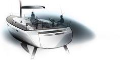 Yacht Design, Bavaria, Transportation, Sketch, Sketch Drawing, Sketches, Tekenen, Draw