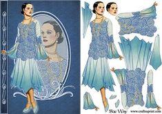 Deco Lady in Blue Floaty Dress Fashion Reflections Decoupage