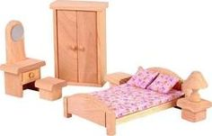 Plan Toys Classic collection of wooden dollhouse furniture allows children to decorate their doll house while developing the imagination. The Wooden Dollhouse Furniture - Classic Bedroom Set includes Barbie Furniture, Dollhouse Furniture, Furniture Plans, Furniture Stores, Furniture Movers, Furniture Removal, Wooden Furniture, Dollhouse Toys, Wooden Dollhouse