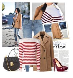 """""""Stripes & Blazer"""" by sarapires ❤ liked on Polyvore featuring Frame Denim, Uniqlo, RED Valentino, Christian Louboutin, Chloé and Chanel"""