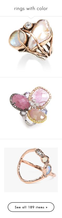 """""""rings with color"""" by meninolee ❤ liked on Polyvore featuring jewelry, rings, accessories, schmuck, gold jewellery, yellow gold rings, pearl jewellery, gold ring, white topaz rings and gold cocktail rings"""