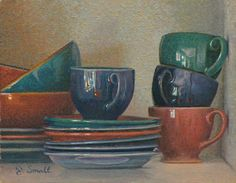 """""""Cups and Bowls,"""" Jonathan Small, oil on linen mounted to panel, 8 x 10"""", collection of the artist."""