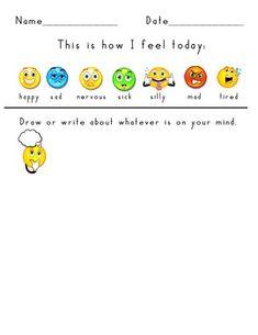 DAILY CHECK IN FEELINGS/EMOTIONS ACTIVITY SHEET - TeachersPayTeachers.com