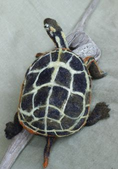 Needle Felted Painted Turtle poseable felted by GeoffreyRStilesArt