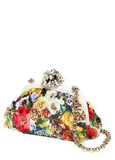 Dolce & Gabbana Dea Embellished Floral Print Clutch