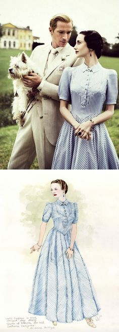 'W.E.' starring Andrea Riseborough and James D'Arcy as Wallis and Edward. Costume Rendering by Arianne Phillips.