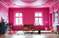 hot pink living room classic architecture crown molding decorative panel windows~ yup fearless, then again, it's only paint Home Design, Home Interior Design, Design Ideas, Interior Stylist, Modern Interior, Traditional Interior, Interior Designing, Classic Interior, Design Design
