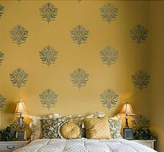 Try Damask stencils instead of pricey damask wallpaper! Our damask stencils are easy to use and very cost effective. Classic stencils, damask stencil patterns, wallpaper stencils for DIY decor. Cutting Edge Stencils, Wall Texture Design, Paint Texture, Damask Stencil, Stencil Patterns, Stencil Walls, Damask Wall, Paint Color Combos, Color Combinations