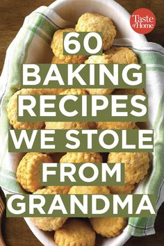 100 Baking Recipes We Snuck from Grandma's Recipe Box Grandma always knew how to make tried-and-true baked goods, and these recipes prove it! Feel like a kid again with recipes for cakes, cookies, breads and more. - 60 Baking Recipes We Stole From Grandma Retro Recipes, Top Recipes, Vintage Recipes, Baking Recipes, Great Recipes, Dessert Recipes, Favorite Recipes, Recipies, Lamb Recipes