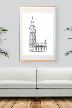 Big Ben London, Black And White Wall Art, City Art, Decoration, All Print, Unique Jewelry, Handmade Gifts, Prints, Etsy
