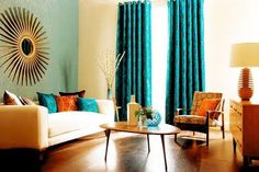 Teal Decor for Living Room. 35 Lovely Teal Decor for Living Room. Living Room Turquoise, Retro Living Rooms, Living Room Orange, New Living Room, Living Room Decor, Living Spaces, Turquoise Walls, Teal Rooms, Turquoise Accents