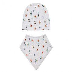 Fashion Infant Newborn Baby Unisex Hats Cute Lovely Print Beanies Cap Hat With Bib
