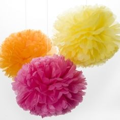 Pom Pom Paper Party Decoration Yellow/Pink/Orange by Engel Bunting