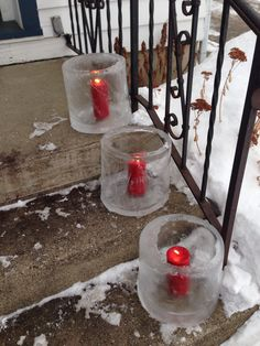 Festive ice candle holder for those of us who live in cold climates. To make, fill a 5 gallon pail with water, put outside and let freeze for 18 to 24 hours. Then bring the pail inside for 30 minutes to loosen ice from the pail. Lastly, take pail outside and carefully tip upside down (over a snow bank). The unfrozen water inside should flow out as you tip the pail over, leaving a cool, frozen candle holder. Beautiful when lit at night!
