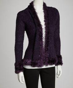 Another great find on #zulily! Purple Linen-Cashmere Blend Open Cardigan by Pretty Angel #zulilyfinds